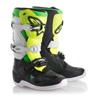 Alpinestars LE YOUTH Prodigy Tech 7S Boots Boys Motocross Boots - Black White Green Fluo Y