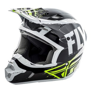 Fly Kinetic Burnish MX Black White Hi Motocross Helmet - Vis