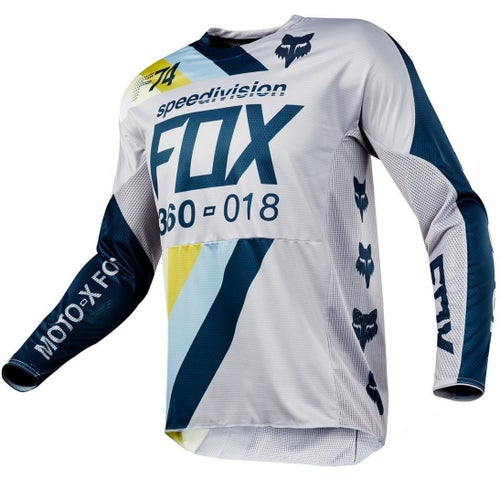 Fox Racing 360 Draftr Motocross Jerseys - Light Grey