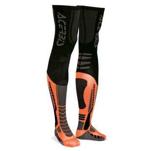 Acerbis MX Motocross XLeg Pro Knee Brace Socks - Black Fluo Orange