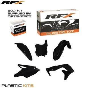 RFX Plastic Kit Kawasaki Black KXF4505 Pc Kit Plastic Kit - lastic Kit Kawasaki (Black) KXF450(5 Pc Kit)