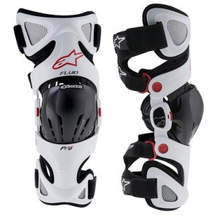 Alpinestars Fluid Pro MX Motocross Knee Braces Knee Brace - White Red (Pair)
