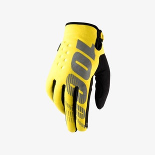 100 Percent Brisker Cold Weather YOUTH Boys Motocross Gloves - Yellow