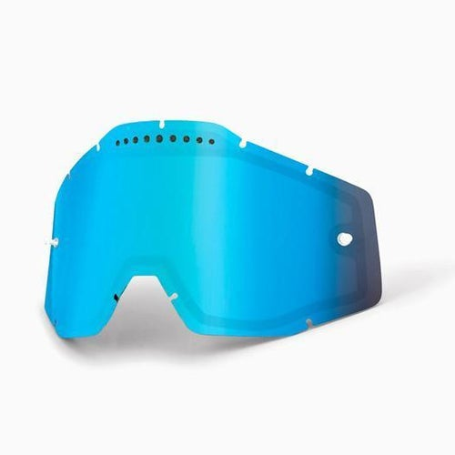 100 Percent Dual Vented Motocross Goggle Lense - Mirror Blue Vented Dual