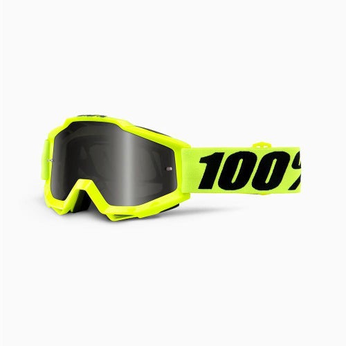 100 Percent Accuri Fluo Yellow Sand Motocross Goggles - Grey Lens + Clear Lens