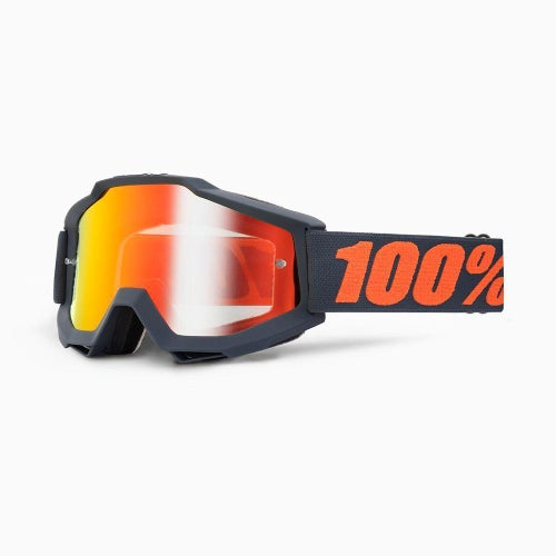 100 Percent Accuri Gunmetal Motocross Goggles - Mirror Red Lens + Clear Lens