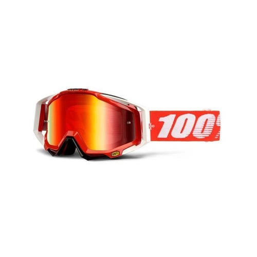 100 Percent Racecraft MX Fire Red Motocross Goggles - Mirror Red Lens + Clear Le