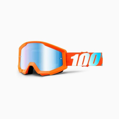 100 Percent Strata YOUTH Orange Origami Motocross Goggles - Mirror Blue Lens