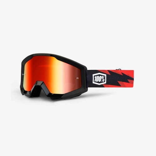 100 Percent Strata Slash Motocross Goggles - Mirror Red Lens