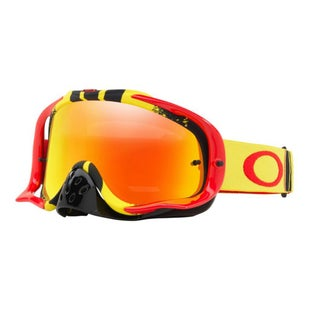 Oakley CrowbarPinned Race Red Yellow Motocross Goggles - Fire Iridium and Clear Lens