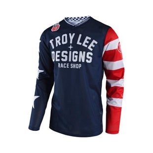 Troy Lee GP AIR Americana MX Motocross Jersey Motocross Jerseys - Blue Red