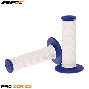 RFX Pro Series 20300 Dual Compound Grips White Centre Pair , MX Handlebar Grip - White Blue