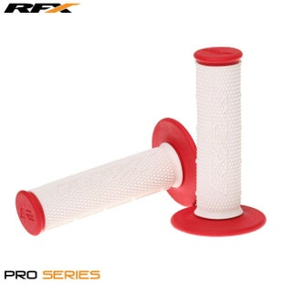 RFX Pro Series 20300 Dual Compound Grips White Centre Pair MX Handlebar Grip - White Red