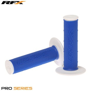 RFX Pro Series 20400 Dual Compound Grips White Ends Pair MX Handlebar Grip - Blue White