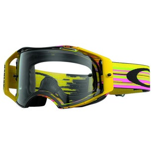 Oakley Airbrake MX Glitch Pink Yellow Green Motocross Goggles - Clear Lens