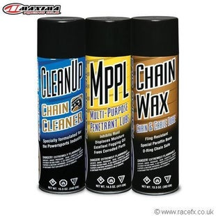 Maxima Chain Wax Ulltimate Chain Care Combo Kit Chain Lube & Cleaning - 3 Pack Aerosol