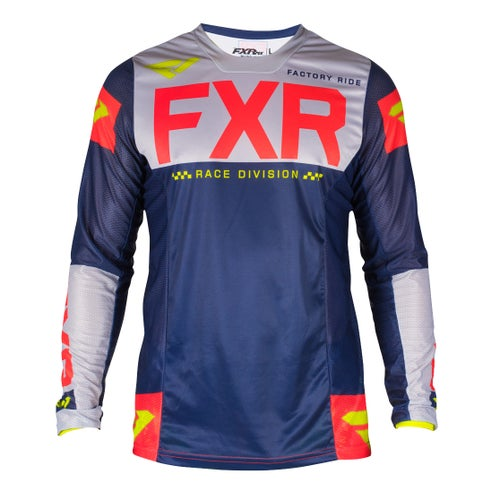 FXR Helium Le Motocross Jerseys - Navy/lt Grey/red/hivis