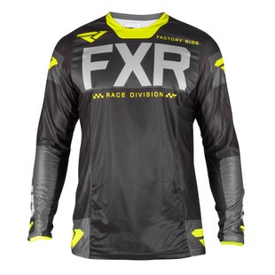 FXR Helium Motocross Jerseys - Black/char/grey/hivis
