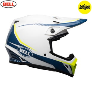 Bell Mx-9 Mips Torch Helmet MX Helm - White Blue Yellow