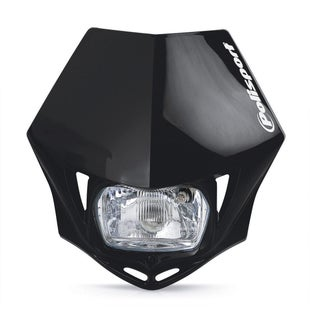 Polisport Plastics Motocross and Enduro Headlight MMX Black Front Light - otocross and Enduro Headlight MMX Black
