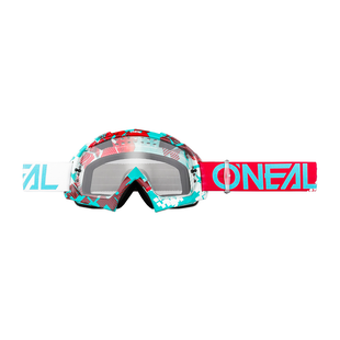 O Neal B-10 Goggle Crank Multi - Clear Motocross Goggles - Red/teal