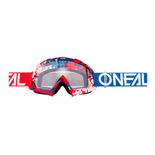 O Neal B-10 Goggle Crank Multi - Clear Motocross Goggles - Red/blue