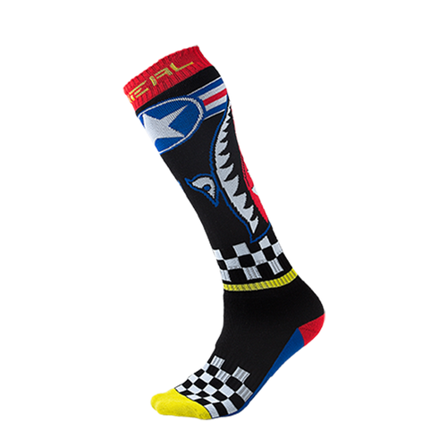 O Neal Pro Wingman Motocross and Enduro MX Boot Socks - Black/Blue/Red/Yellow