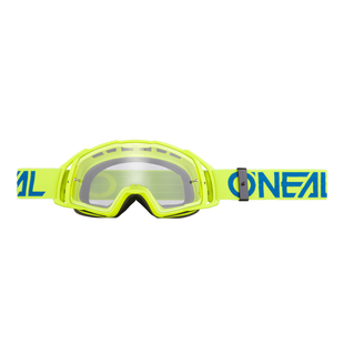 O Neal B20 Flat MX Motocross and Enduro Goggles Hiviz Blue Lens Motocross Goggles - Clear
