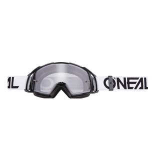 O Neal B20 Flat MX Motocross and Enduro Goggles Black White Lens Motocross Goggles - Clear