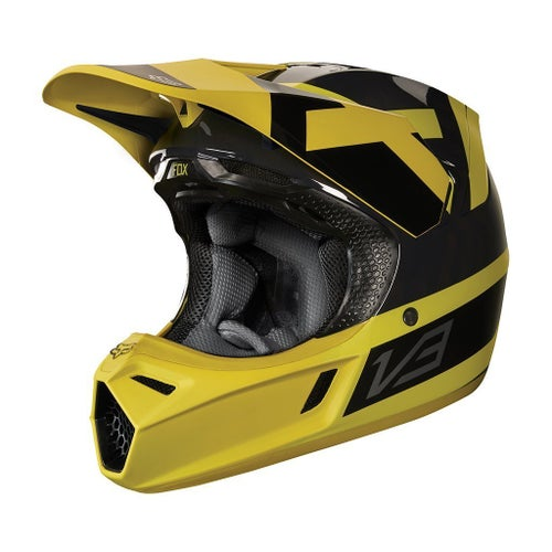 Fox Racing V3 Preest Motocross Helmet - Dark Yellow