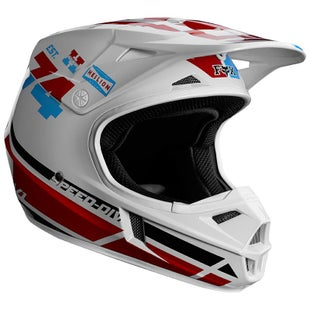 Fox Racing V1 Red White True Motocross Helmet - Red White Blue