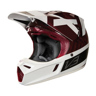 Fox Racing V3 Preest Motocross Helmet - Dark Red