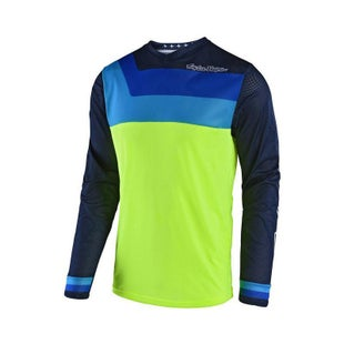 Troy Lee GP AIR Prisma MX Motocross Jersey Motocross Jerseys - Flou Yellow Blue