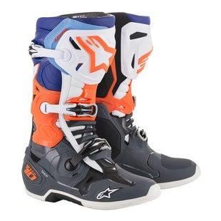 Botas MX Alpinestars Tech 10 - Cool Gray Orange Fluo Blue Wht