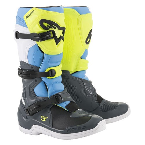 Alpinestars Tech 3 Motocross Boots - Cool Gray Yellow Fluo Cyan