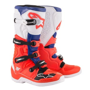 Botas MX Alpinestars Tech 5 - Red Fluo Blue White