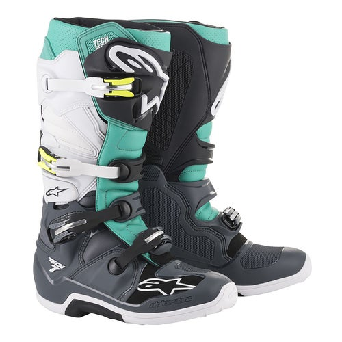 Alpinestars Tech 7 Motocross Boots - Dark Gray Teal White