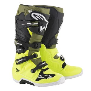 Botas MX Alpinestars Tech 7 - Yellow Fluo Military Green Blk