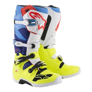 Botas MX Alpinestars Tech 7 - Yellow Fluo White Blue Cyan