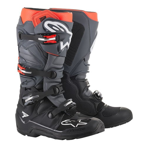 Alpinestars Tech 7 Enduro Grippy Sole Motocross Boots - Black Gray Red Fluo