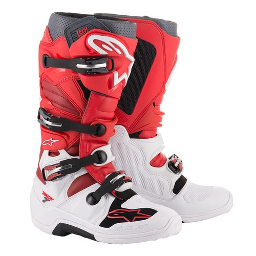 Alpinestars Tech 7 S Motocross Boots - White Red Gray