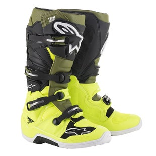 Botas MX Alpinestars Tech 7 S - Yellow Fluo Military Green Blk