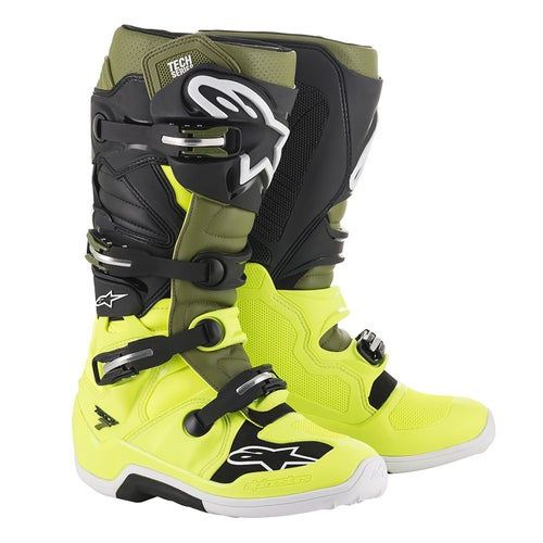 Alpinestars Tech 7 S Boys Motocross Boots - Yellow Fluo Military Green Blk