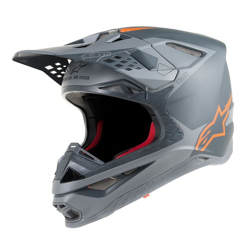 Alpinestars Supertech S-m10 Meta Motocross Helmet - Anthracite Gray Orange Fluo
