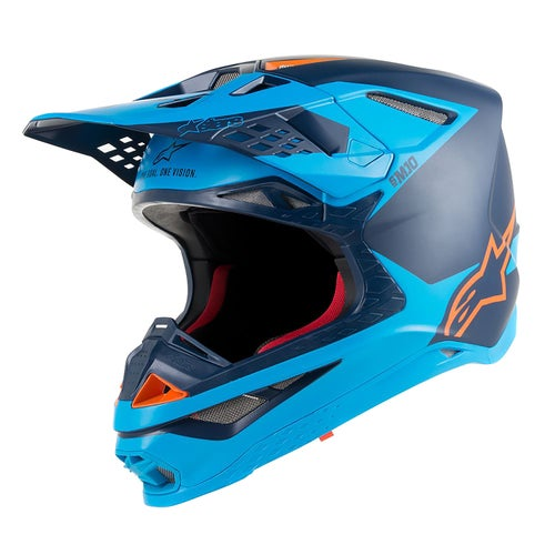 Alpinestars Supertech S-m10 Meta Motocross Helmet - Black Aqua Orange Fluo