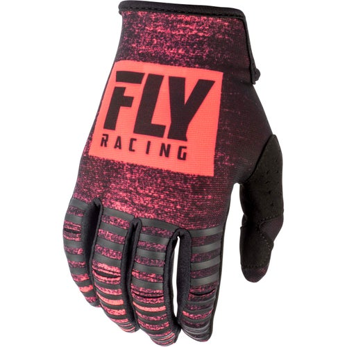 Fly Kinetic Noiz Gloves Motocross Gloves - Neon Red Black