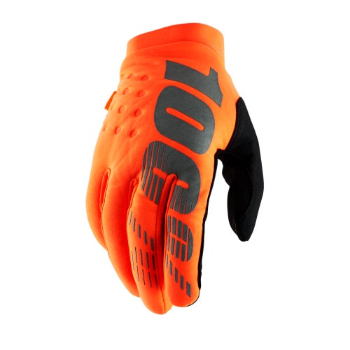 100 Percent Brisker YOUTH Motocross Gloves - Fluo Orange/black