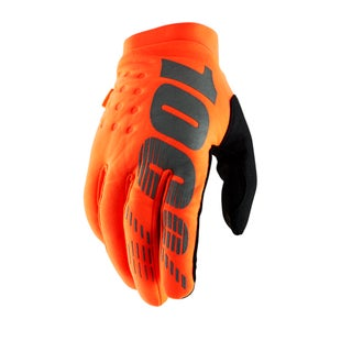 100 Percent Brisker Motocross Gloves - Fluo Orange/black