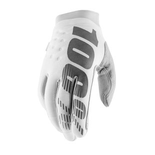 100 Percent Brisker Motocross Gloves - White/silver