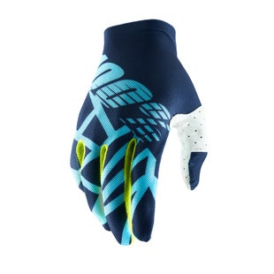 100 Percent Celium 2 Motocross Gloves - Navy/ice Blue/fluo Lime